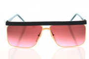 Black vintage sunglasses with heavy black brow bar and rose lenses