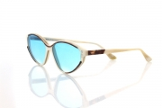 buffalo horn eyewear with blue tinted lenses