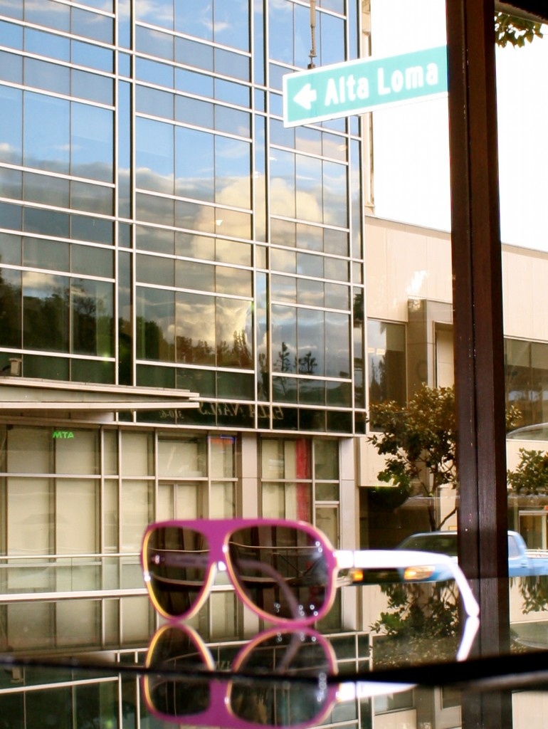 View from the West Hollywood Store through Pink Sunglasses onto Sunset Blvd