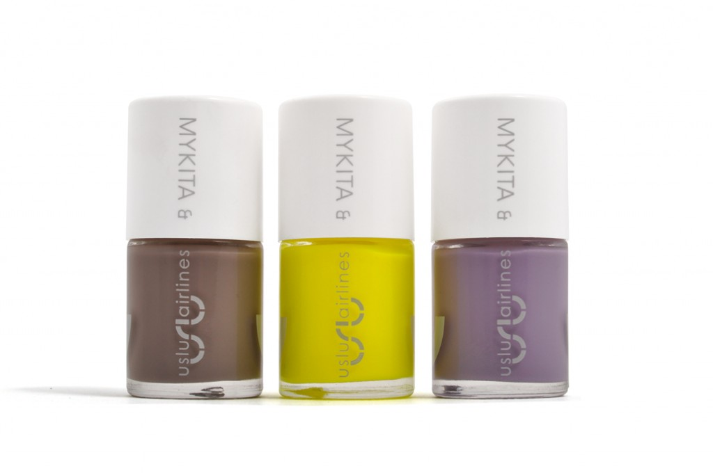 Mykita x uslu airlines nail polish in grey-brown, neon yellow and lilac