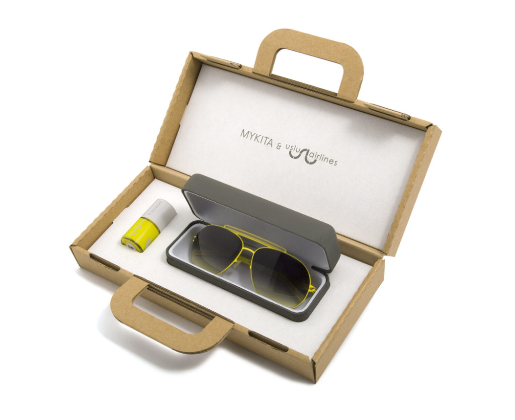 Mykita x uslu airlines Jet Set BOB in neon yellow