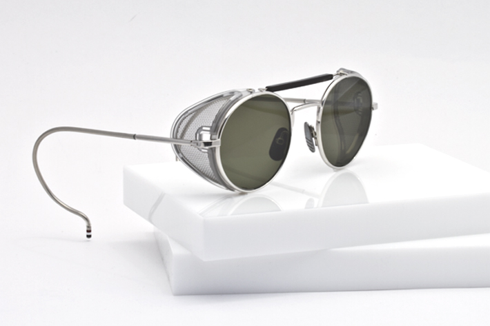 Thom Browne Eyewear Silver with side shields side view