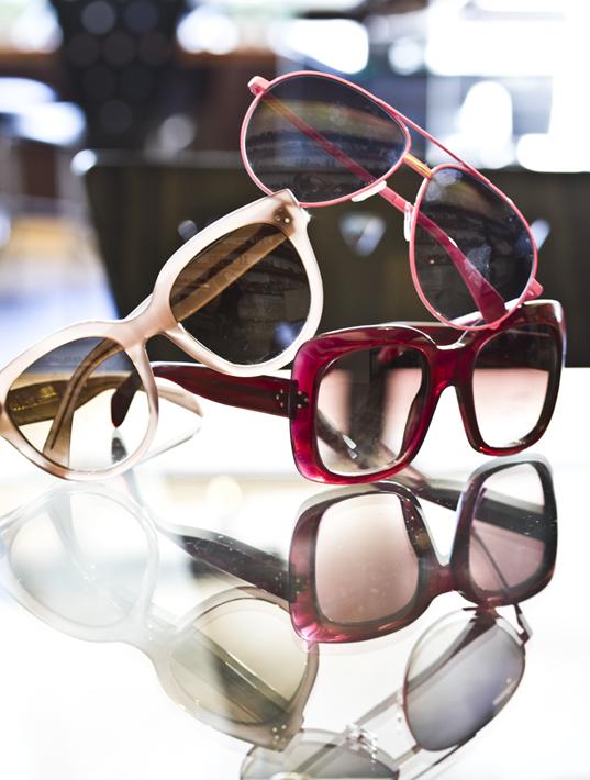 A trio of Celine Eyewear Sunglasses, pink, blush and bordeaux at Dan Deutsch in West Hollywood
