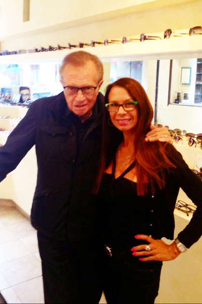 Larry King at Dan Deutsch Optical Outlook Beverly Hills