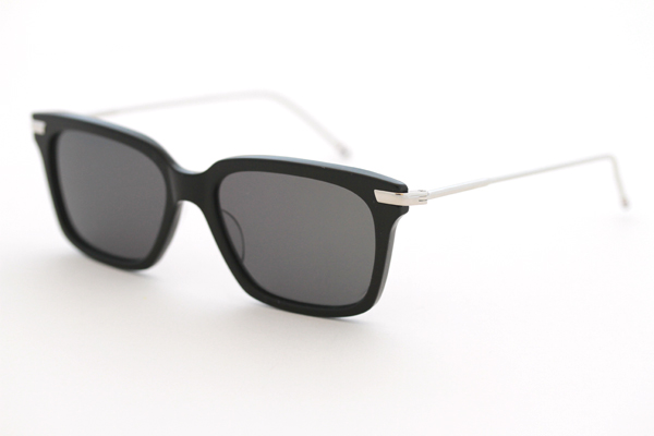 Thom Browne Wayfarer Sunglasses in Black and Shiny Silver Los Angeles