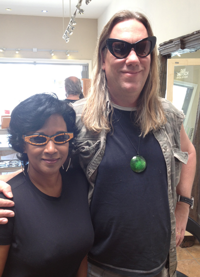 The Violent Femmes Brian Ritchie and wife Varuni Kulasekera select eywear for Coachella