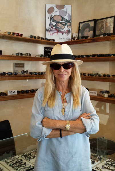 Bond Girl Britt Ekland looking good with Cateye Sunglasses at Dan Deutsch West Hollywood