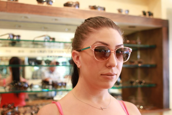 Allah tries on Thierry Lasry's Tipsy sunglasses in crystal with green lacquer temples