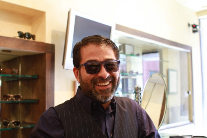 Ignacio tries on the Thierry Lasry Kendry in blue named for rapper Kendrick Lamar.