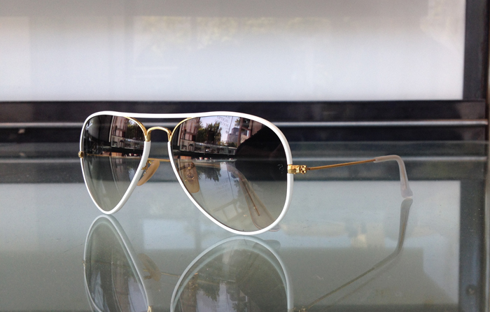 Ray Ban Aviator rimmed in white with gold at Dan Deutsch Optical in Westwood Village