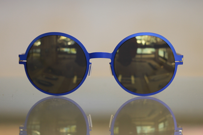 Round Mykita Sunglasses in striking purple blue as seen at Dan Deutsch Optical Outlook West Hollywood