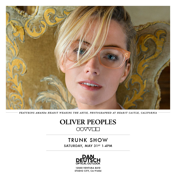 Lydia Hearst wearing Oliver Peoples Artie for Dan Deutsch Optical Outlook Studio City trunk show announcement