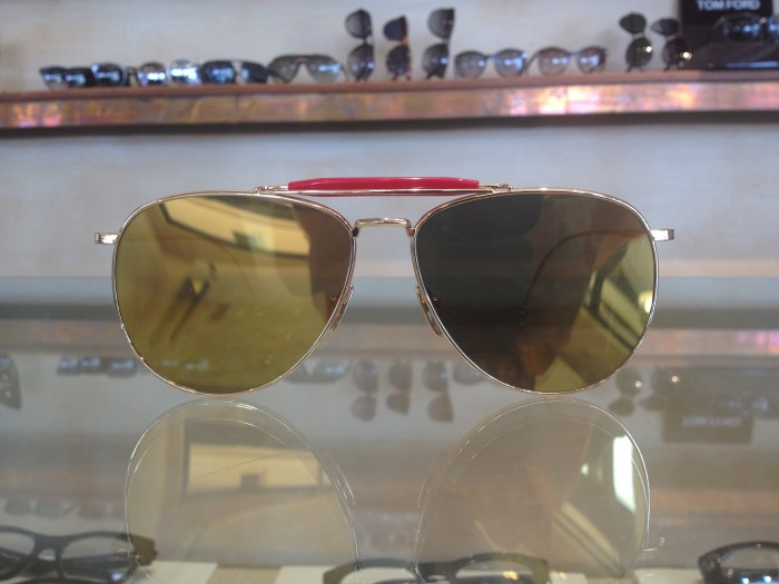 Gold Thom Browne aviators gold mirror lenses