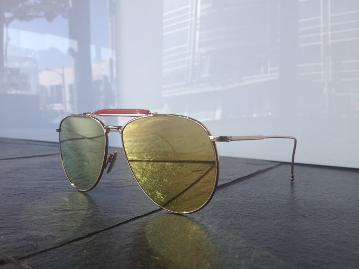 Gold Thom Browne aviators
