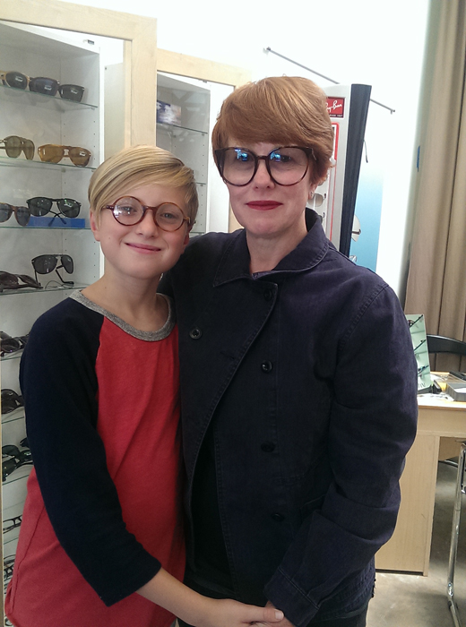 Photographer Polly Borland with her son Louie at Dan Deutsch Optical Outlook West Third Street