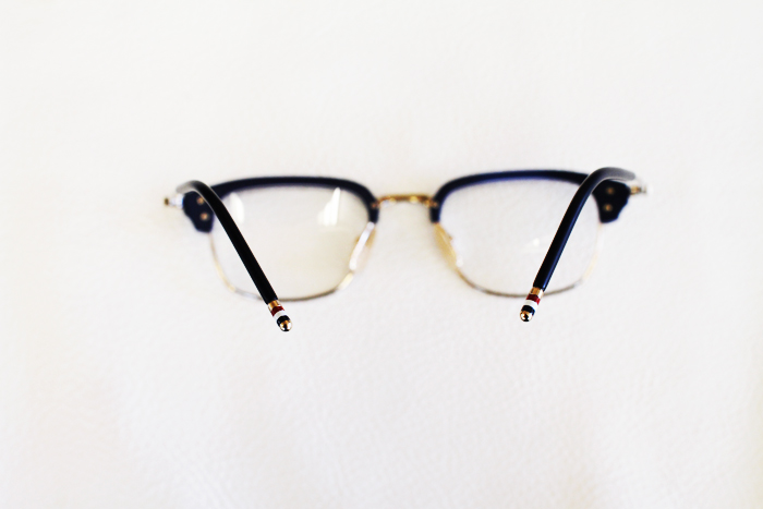 Thom Browne Glasses in focus Red White and Blue Temple Tips