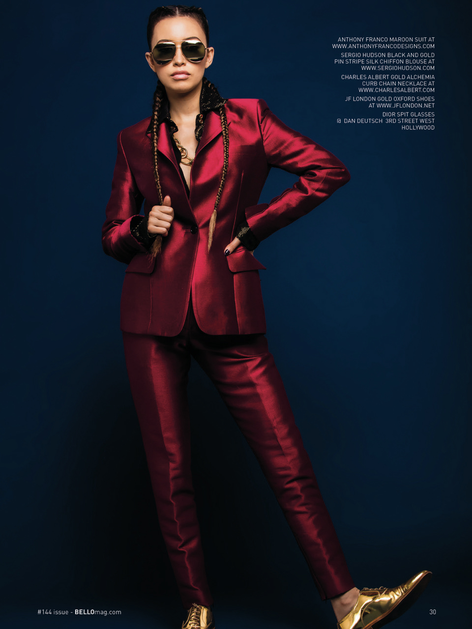 The Walking Dead's Christian Serratos in Maroon Suit, Gold Shoes and Dior Split Sunglasses