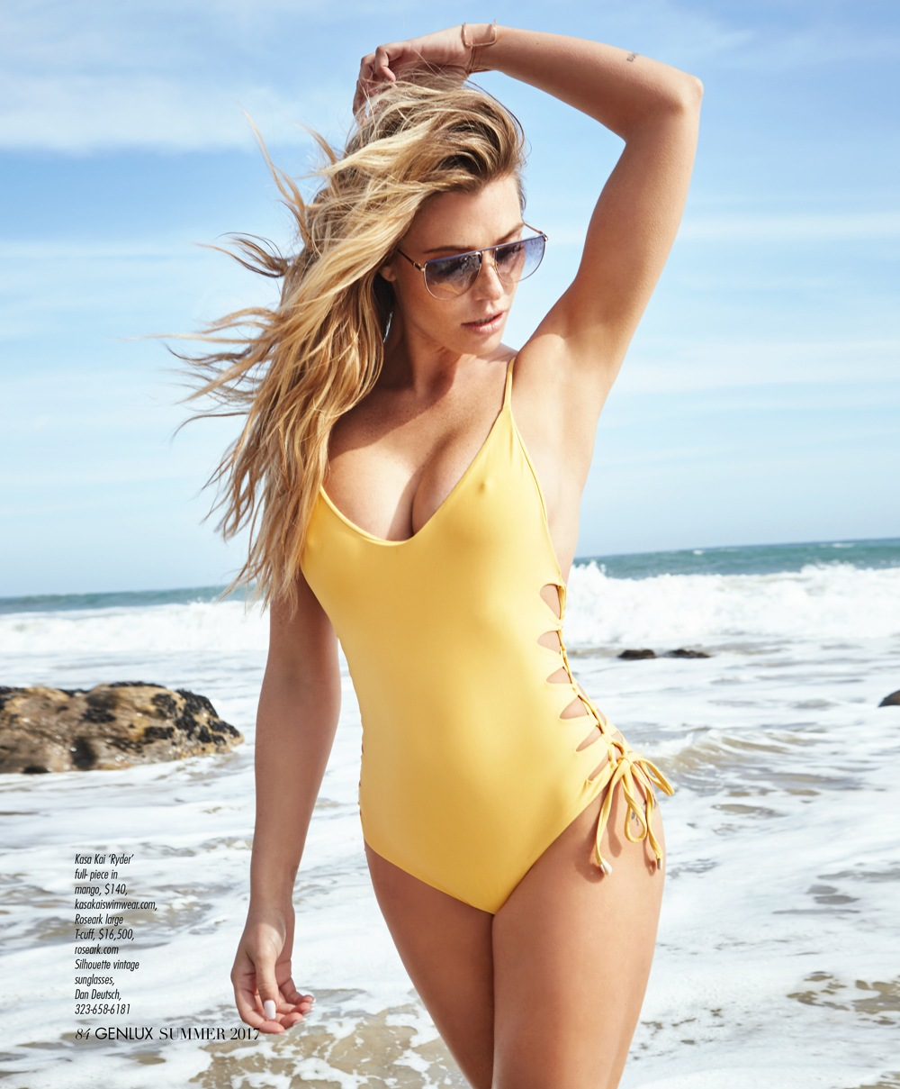 Sports Illustrated supermodel Samantha Hoopes wears vintage Silhouette sunglasses from Dan Deutsch Optical Outlook