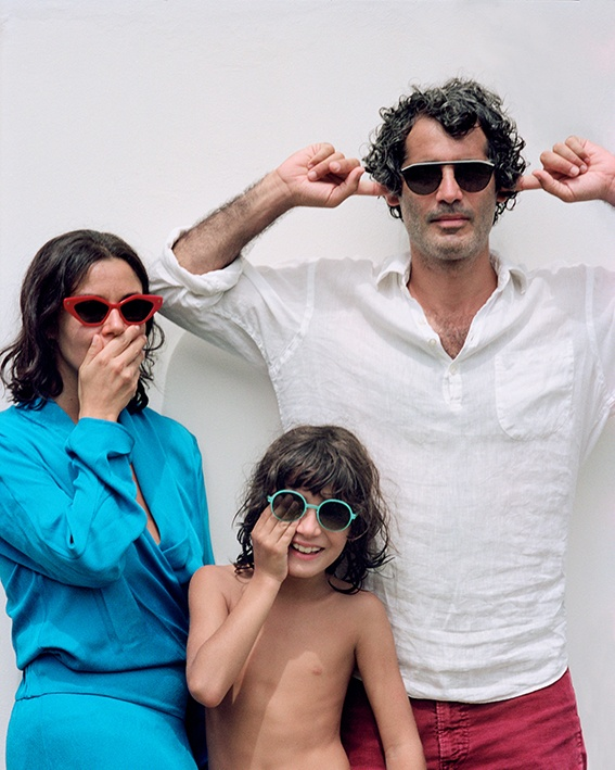 Family with child wearing Mykita sunglasses - available at Dan Deutsch in los angeles