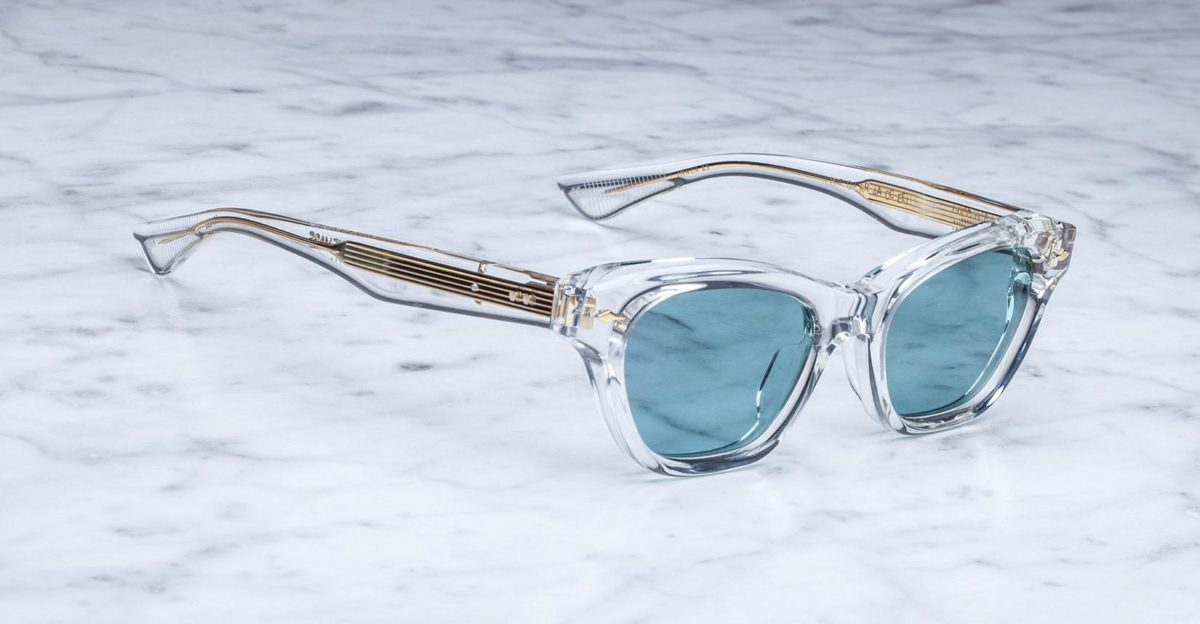 Angled view of Jacques Marie Mage Grace style sunglasses in Clear JMMGR-63