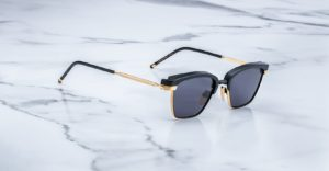 Angled view of the Jacques Marie Mage Nokona sunglasses in colorway Raven JMMNO-58