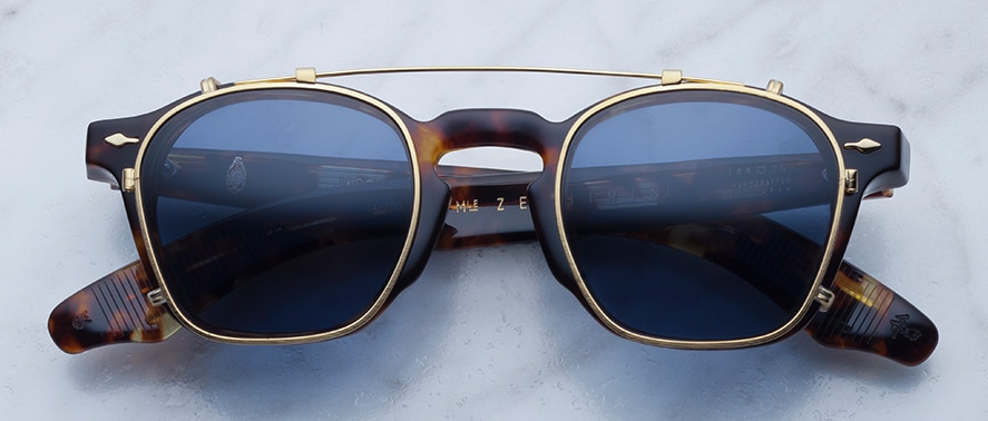 Jacques Marie Mage Zephirin Clipon in Gold with Blue Lenses JMMZPC-4