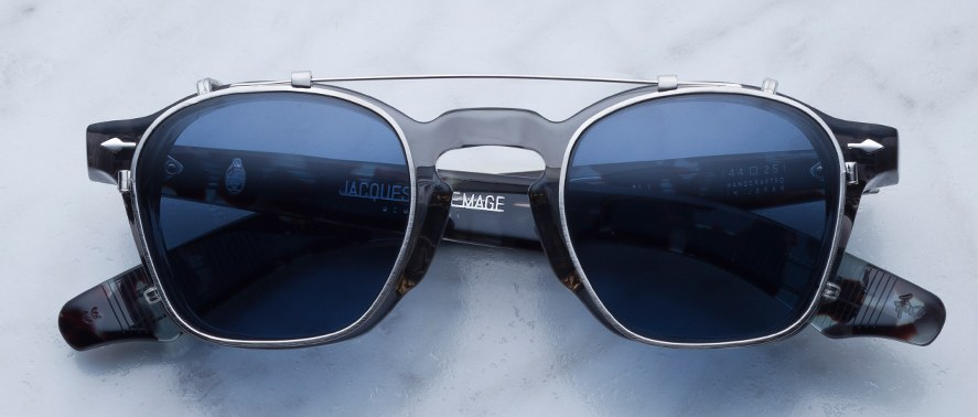 Jacques Marie Mage Zephirin Clip-on in Silver with Blue Lenses JMMZPC-1