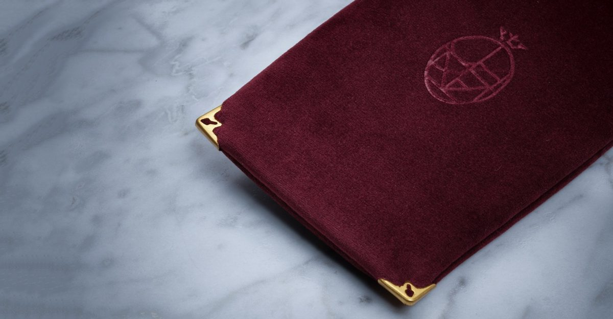 Jacques Marie Mage Soft Velvet Pouch in Burgundy JMM-ACCS-013