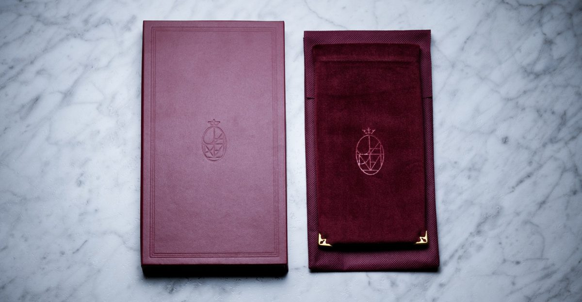 Jacques Marie Mage Soft Velvet Pouch in Burgundy