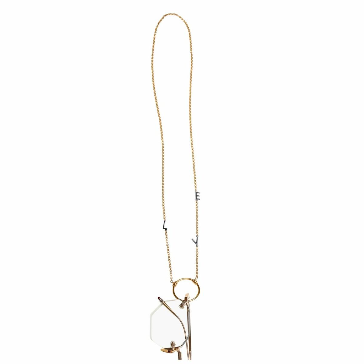 Love Letter eyeglass necklace by La Loop in Gold