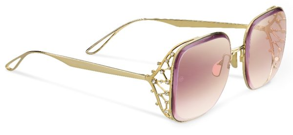 Elie Saab 005/S in Gold with Burgundy Lenses (0NOA) with Burgundy lenses
