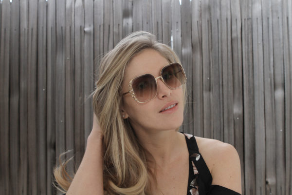 Elie Saab Sunglasses 005/S Diamant with Swarovski Crystals in Gold with Brown Lenses