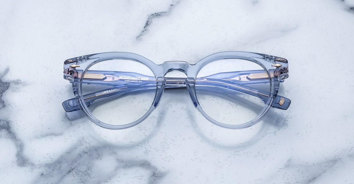 Jacques Marie Mage Arp style glasses in blue