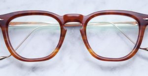 Front view of Jacques Marie Mage Byron style glasses in colorway tobacco