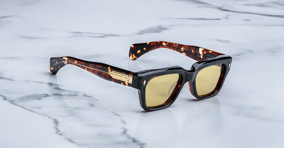 Jacques Marie Mage Fellini style sunglasses in colorway Dark Havana