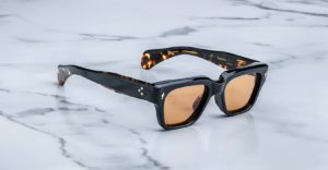 Angled view of the Jacques Marie Mage Fellini style sunglasses in black