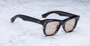 angled view of the Jacques Marie Mage Fitzgerald style sunglasses in colorway Duo