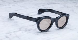 Angled view of the Jacques Marie Mage Hitchcock style sunglasses in colorway Buffalo