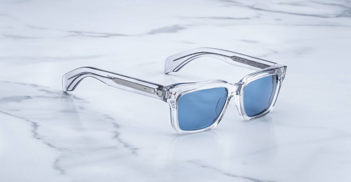 Angled view of the Jacques Marie Mage Molino 55 style sunglasses in colorway Frost
