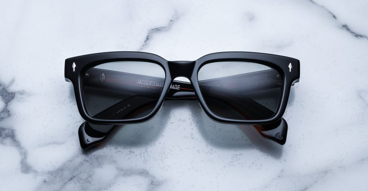 Front View of the Jacques Marie Mage Molino 55 sunglasses in the Noir 4 colorway available at Dan Deutsch