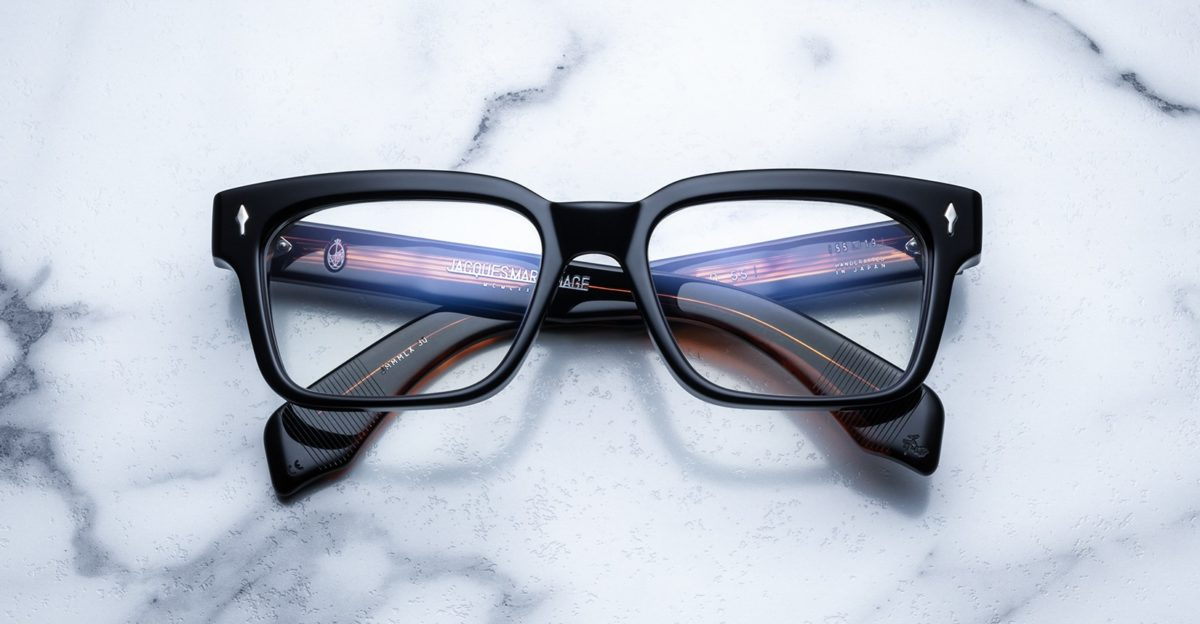 Front view of the Jacques Marie Mage Molino55 style eyeglasses in the Noir 4 colorway available at Dan Deutsch