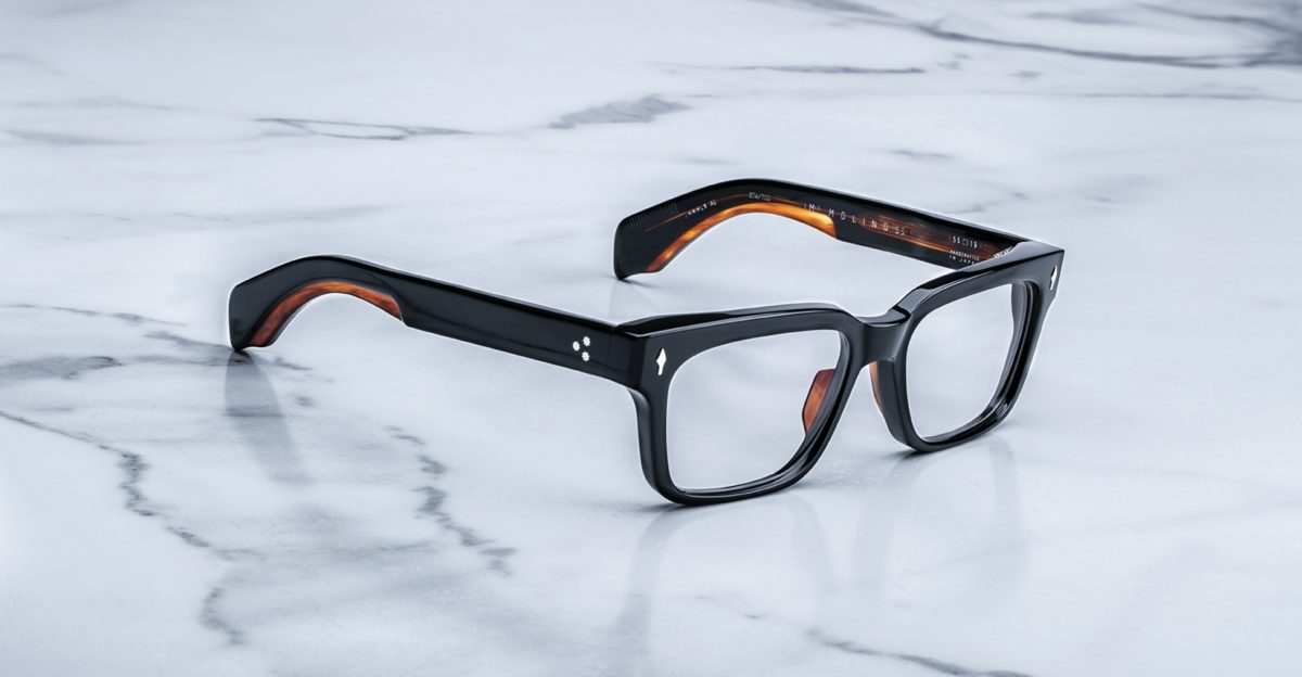 Angled view of the Jacques Marie Mage Molino55 style eyeglasses in the Noir 4 colorway available at Dan Deutsch