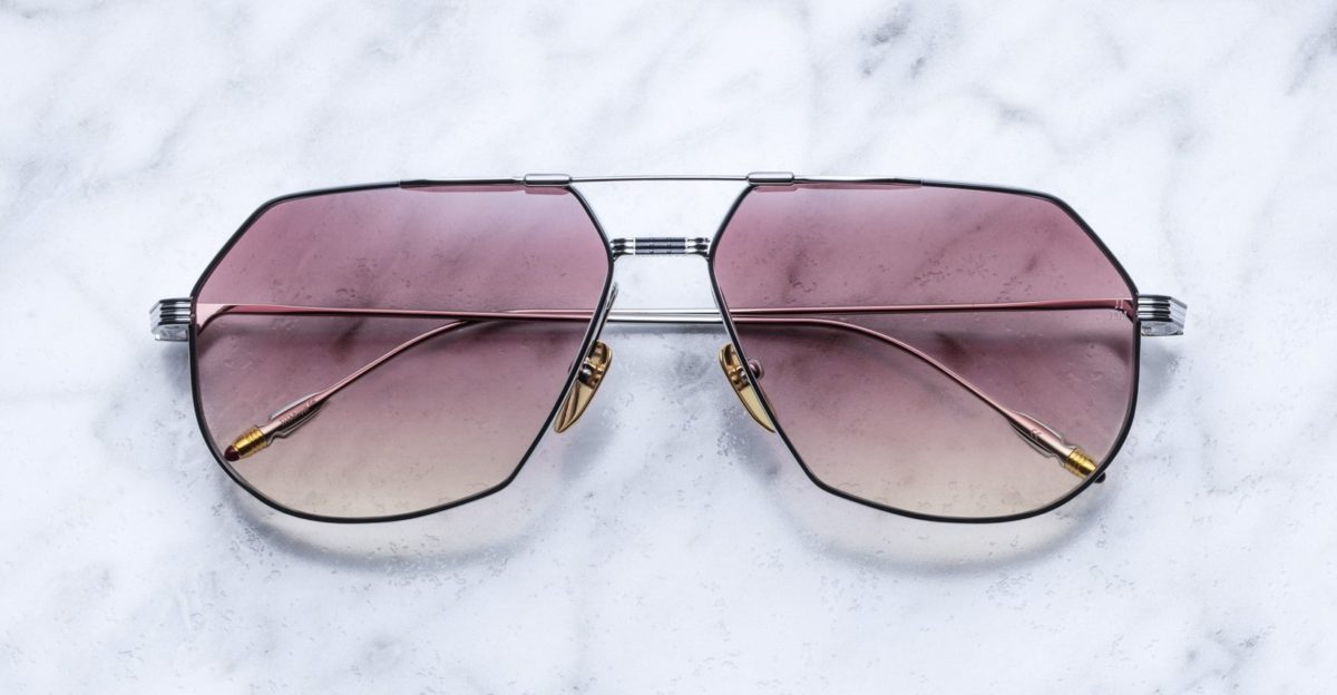 Jacques Marie Mage Reynold style sunglasses in Silver Fox colorway
