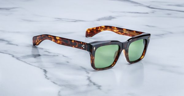 Angled view of the Jacques Marie Mage Torino style sunglasses in tortoise