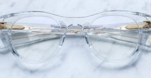 Jacques Marie Mage Tristan glasses in clear available at Dan Deutsch