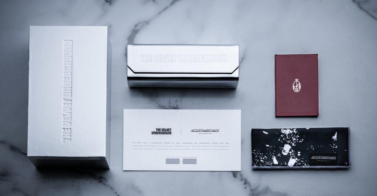 Jacques Marie Mage complete packaging kit for White Light Velvet Underground sunglasses