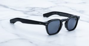 Angled view of the Jacques Marie Mage Zephirin sunglasses in colorway Vader