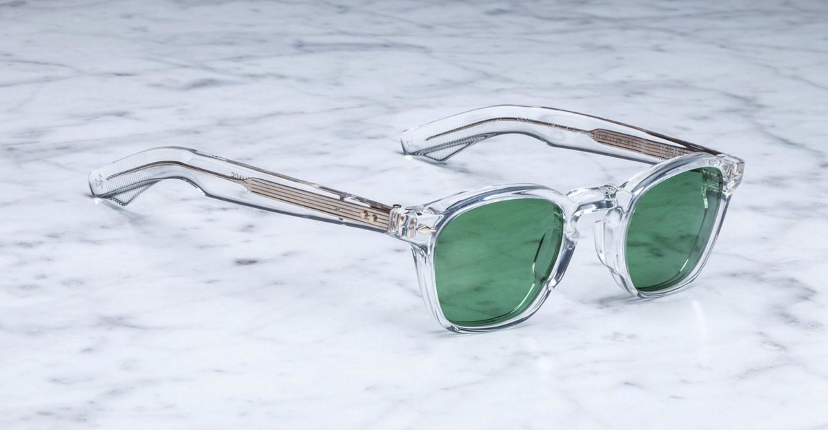 Angled view of the Jacques Marie Mage Zephirin 47 style sunglasses in clear