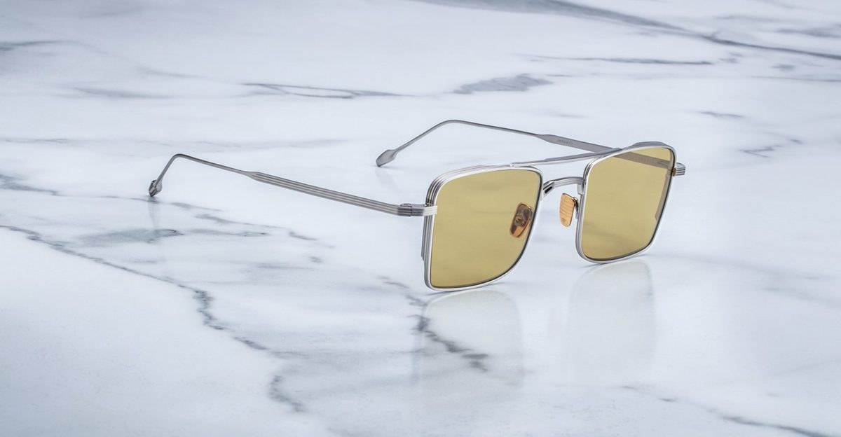 Angled view of the Jacques Marie Mage Altamont style sunglasses in Silver