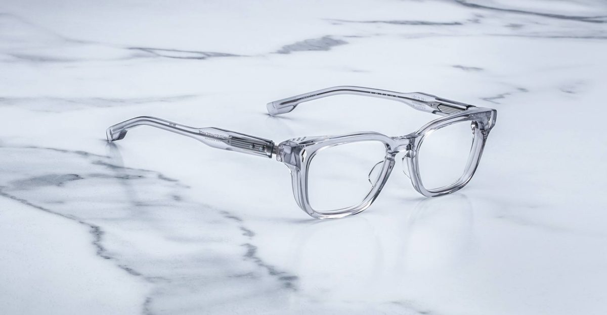 Angled view of the Jacques Marie Mage Artaud eyeglasses in colorway Frost